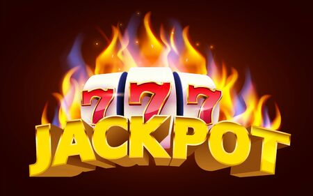 Burning slot machine wins wins the jackpot. Fire casino concept. Hot 777.