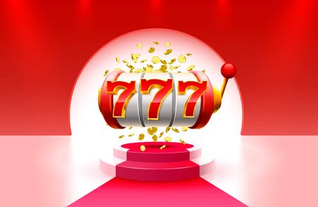King slots 777 banner casino on the red background. Ilustracja