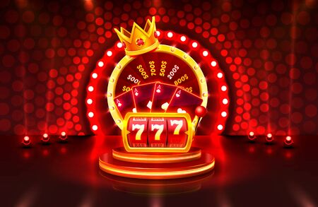 Casino 3d cover, slot machines and roulette with cards, Scene background art. Vektorové ilustrace