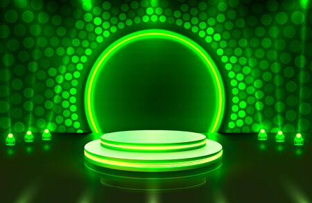 Show light, Stage Podium Scene with for Award Ceremony on green Background.