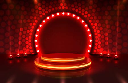 Show light, Stage Podium Scene with for Award Ceremony on red Background. Stock Illustratie