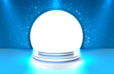 Show light, Stage Podium Scene with for Award Ceremony on blue Background. Stock Illustratie