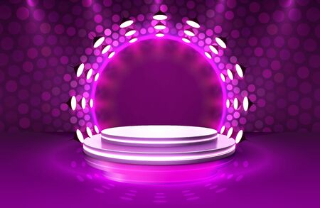 Show light, Stage Podium Scene with for Award Ceremony on purple Background. Vector illustration