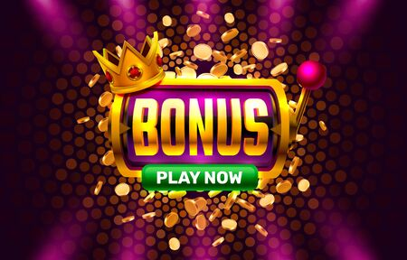 Bonus casino coin, cash machine play now. Vektorové ilustrace