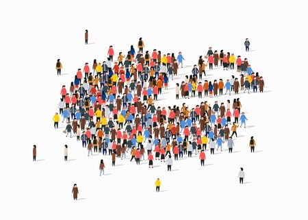 People crowd in form of pie chart composed of people. Statistic concept. Vector illustration