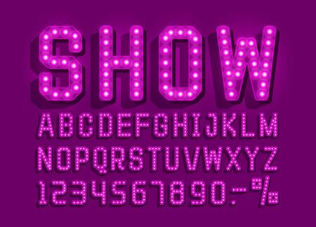 Show font vintage, light sign set. Vector illustration