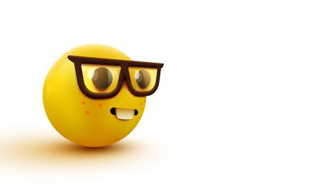 Nerd face emoji, clever emoticon with glasses. Geek or student. Illustration