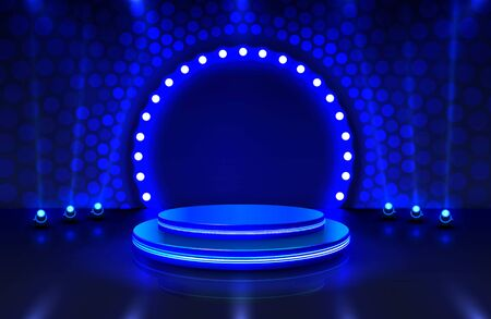 Show light, Stage Podium Scene with for Award Ceremony on blue Background.