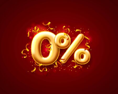 Sale off ballon number on the red background. Vector illustration