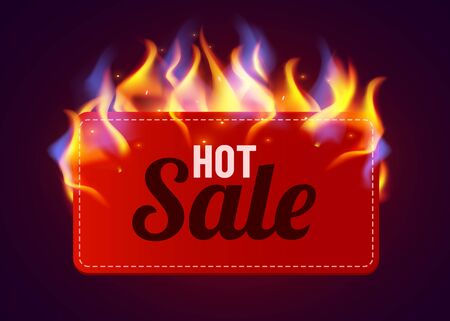 Realistic fire label. Hot deal and sale offer text banners with shiny flame effect, isolated design objects. Vector burning label.