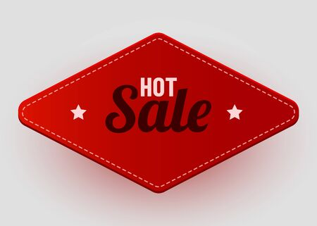 Realistic label. Hot deal and sale offer text banners design objects. Vector red label.