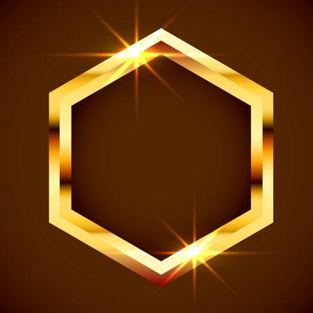 Gold shiny vintage border. Golden luxury realistic frame.