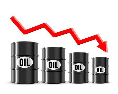 oil price fell in the global market. white background. Vector illustration