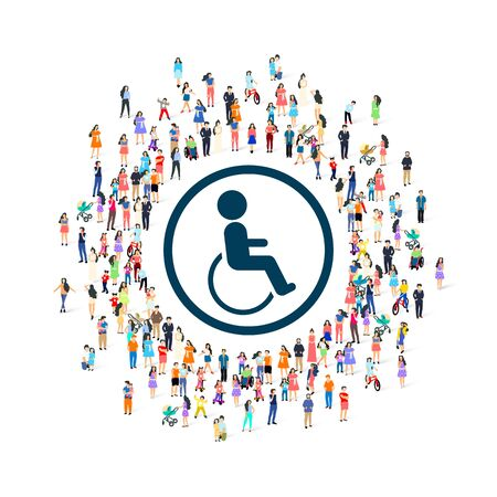 Disabled people around the symbol white background.