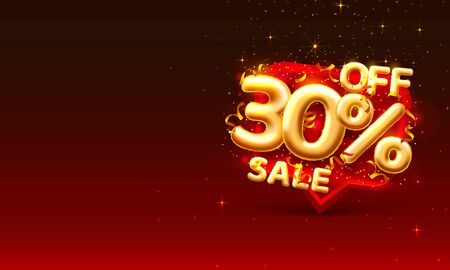 Sale 30 off ballon number on the red background.