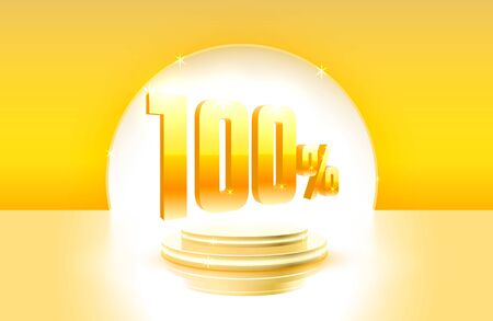 Scene golden 100 sale off text banner, event store. Night Sign.