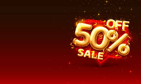 Sale 50 off ballon number on the red background. Ilustración de vector