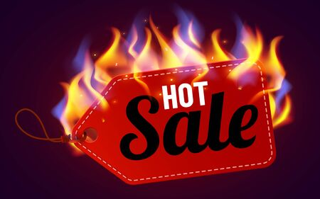 Realistic fire label. Hot deal and sale offer text banners with shiny flame effect, isolated design objects. Burning label. 向量圖像