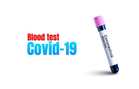 Coronavirus test blood, Virus organism danger, biology macro, white background.