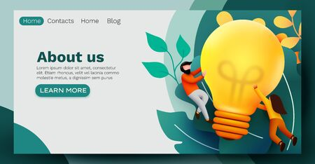 3d Business People with Big Light Bulb Idea. Innovation, Brainstorming, Creativity Concept. Website Landing page.