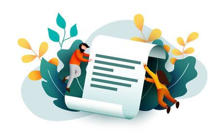 Small people flying around paper document. Agreement or contract. Terms and conditions. Иллюстрация