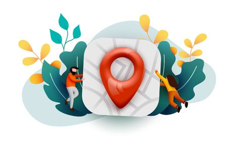 Small people flying around big Map with map pin. Travel or journey concept. Location, address or contacts sign.