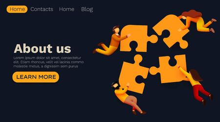 Business solutions concept, workflow flying people and interaction with puzzle pieces icons. Landing page template.