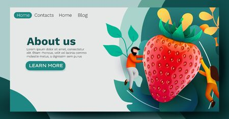 People flying around big red strawberry. Vegetarian and healthy food concept. Landing page, banner or flyer template.