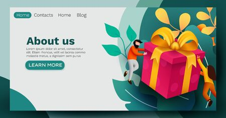 People flying around big present box. Celebration concept. Landing page, banner or flyer template.