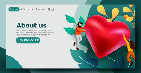 People flying around big red heart. Love or social media like concept. Landing page, banner or flyer template.