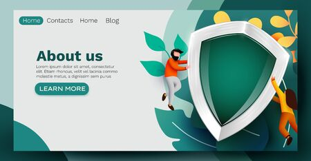People flying around big shield. Data or health protection concept. Landing page, banner or flyer template.