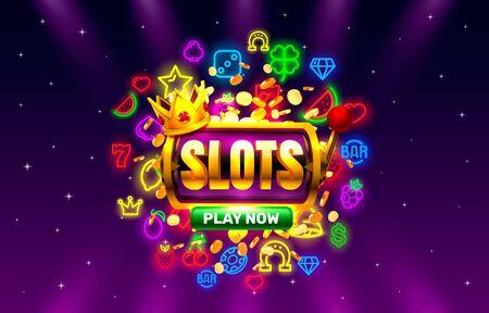 Casino slots neon icons, golden slot sign machine, night Vegas.