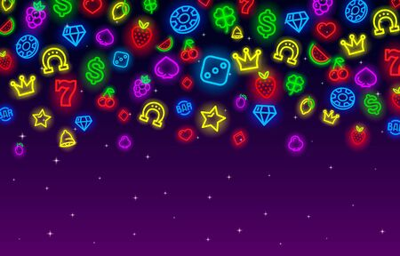 Casino neon collection icons, slot sign set, night Vegas.