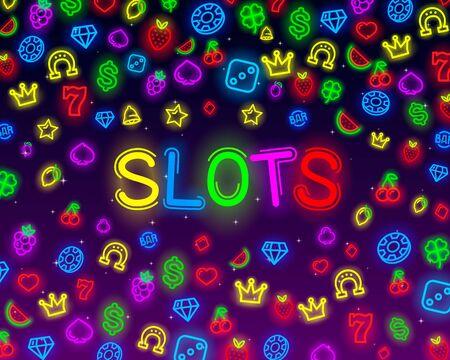 Casino slots neon icons, slot sign machine, night Vegas. Ilustração