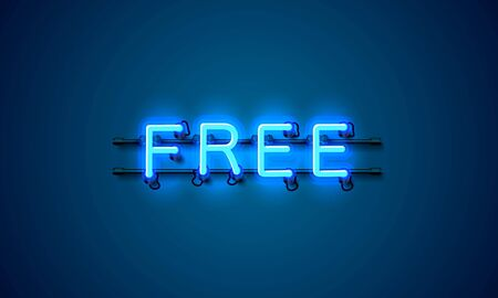 Free neon banner element, market offer present. Vector Vector Illustration