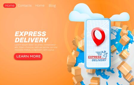 Express delivery application, smartphone service tracking. Vector