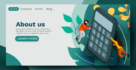 People flying around big calculator. Accounting and analytic concept. Web page, banner, presentation. Investment or business calculating. Vektorové ilustrace
