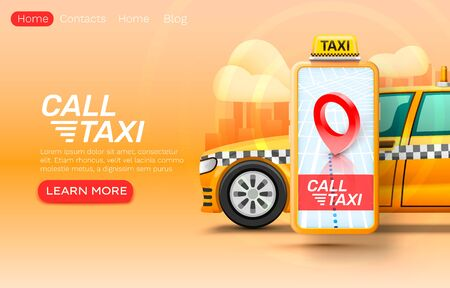 Smartphone call taxi banner concept, place for text, online application, taxi service.