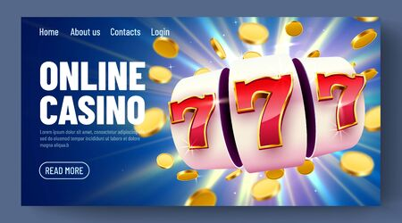 Golden slot machine with flying golden coins wins the jackpot. Online casino. Web landing page template or banner for internet casino. Big win concept.