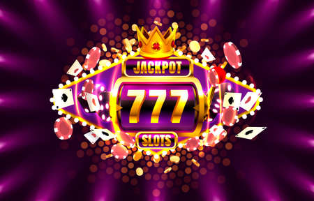 Jackpot King spins 777 banner casino on the golden background. Vector