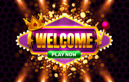 Welcome play now, 777 slot sign machine. Vector