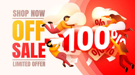Shop now off sale, 100 interest discount, limited offer. Vector illustration Vettoriali