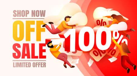 Shop now off sale, 100 interest discount, limited offer. Vector illustration Ilustracja