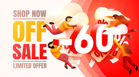 Shop now off sale, 60 interest discount, limited offer. Vector illustration Vettoriali