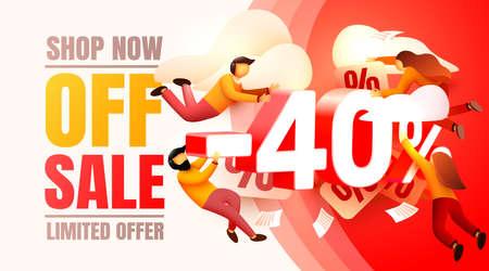 Shop now off sale, 40 interest discount, limited offer. Vector illustration