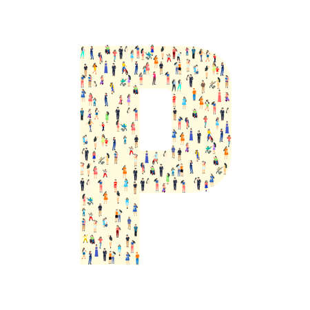 Large group of people in letter P form. People font. Clean vector font. Vector Ilustração