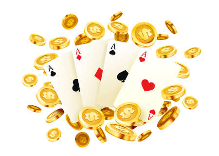 Poker banner, golden coins jackpot, Casino 3d cover, gaming aces of the card. Vector
