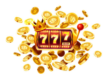 Slots 777 banner, golden coins jackpot, Casino 3d cover, slot machines and roulette with cards