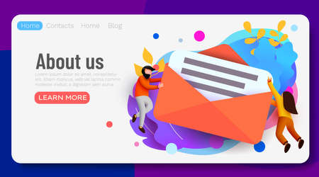 People flying around big mail letter. Email messaging concept. Landing page, banner or flyer template. Ilustrace
