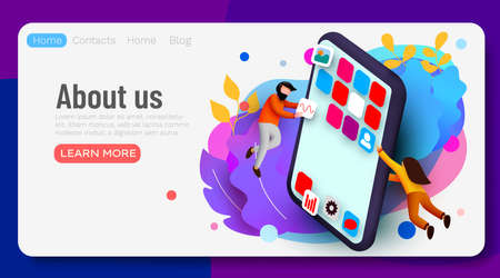 Landing page. Modern banner template with tiny people and giant smartphone. mobile app design. User interface development concept. Small people building applications.